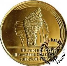 100 marek polskich - 90. ROCZNICA POWSTAŃ ŚLĄSKICH (golden nordic III)
