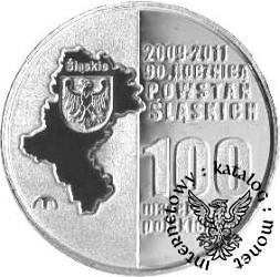100 marek polskich - 90. ROCZNICA POWSTAŃ ŚLĄSKICH (Ag II)