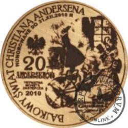 20 andersenów / Hans Christian Andersen - typ III / PRÓBA - WZORZEC PRODUKCYJNY DLA MONETY (miedź patynowana)