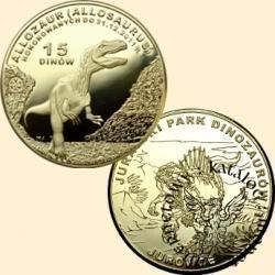 15 dinów / Jurajski Park Dinozaurów w Jurowcach - Allozaur (mosiądz)