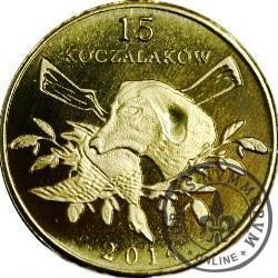 15 koczalaków (Koczała) VI emisja / Typ 2 - GĘŚ GĘGAWA (mosiądz platerowany 24ct. złotem)