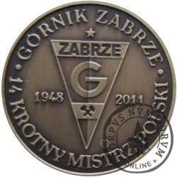Górnik Zabrze - 14 krotny Mistrz Polski (mosiądz oksydowany)