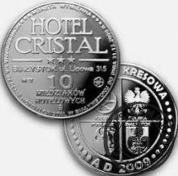 10 miedziaków hotelowych - Hotel Cristal - Białystok (mosiądz posrebrzany)