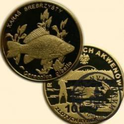 10 złotych rybek (mosiądz) - XVIII emisja / KARAŚ SREBRZYSTY