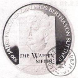10 euro -  Bertha von Suttner - 100 rocznica otrzymania Pokojowej Nagrody Nobla