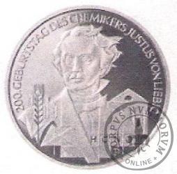 10 euro -  200 rocznica urodzin Justusa von Liebiga