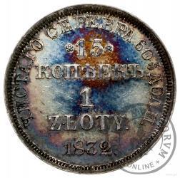 15 kopiejek - 1 złoty [d] (bez płaszcza, z kreską ułamkową, kropki niżej)