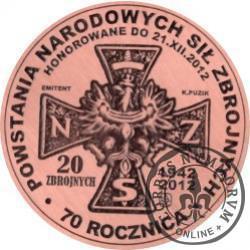 20 zbrojnych - Ignacy Oziewicz – pierwszy komendant główny NSZ (miedź - Φ 32 mm)