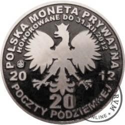 20 poczty podziemnej (POCZTA OBOZOWA SOLIDARNOŚĆ) / WZORZEC PRODUKCYJNY DLA MONETY (wzór I - marszałek Józef Piłsudski / miedź srebrzona oksydowana + mosiężna rycina)