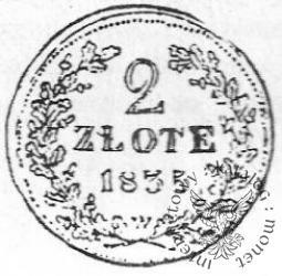 2 złote - dwuzłotówka krakowska - ołów z napisem