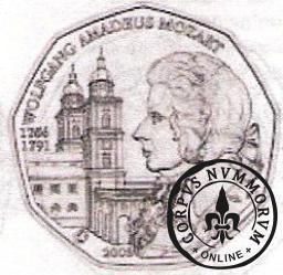 5 euro - 250 rocznica urodzin  Wolfganga Amadeusza Mozarta