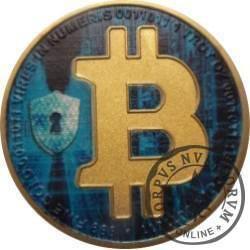 Half Bitcoin BTC (miedź pozłacana + tampondruk)