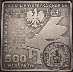 500 chopinów / Fryderyk Chopin (klipa - mosiądz srebrzony oksydowany)