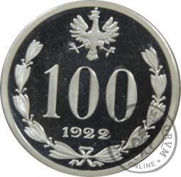 100 (bez nazwy) - Józef Piłsudski - kopia monety próbnej