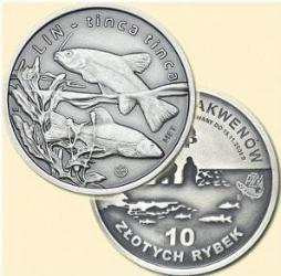 10 złotych rybek - III emisja / LIN - stempel zwykły