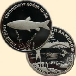 100 złotych rybek (Ag) - XIV emisja / AMUR BIAŁY