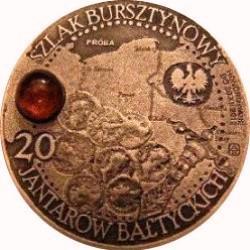 20 jantarów bałtyckich (AGUILEIA) / WZORZEC PRODUKCYJNY DLA MONETY (miedź patynowana + bursztyn - ⌀ 32)