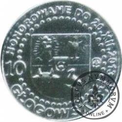 10 głogowskich / 500 – LECIE GŁOGOWSKIEGO BRACTWA KURKOWEGO (VII emisja - mosiądz srebrzony lustro)