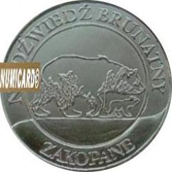 10 dutków zakopiańskich - NIEDŹWIEDŹ BRUNATNY (II emisja - bimetal posrebrzany)