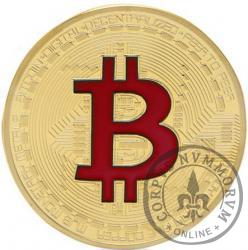 Bitcoin BTC miedź pozłacana / tampondruk czerwony