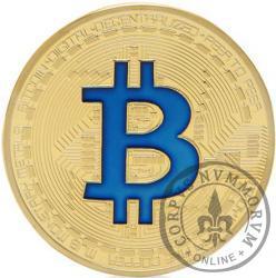 Bitcoin BTC miedź pozłacana / tampondruk niebieski