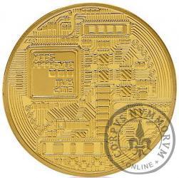 Bitcoin BTC miedź pozłacana / tampondruk żółty