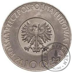 100 złotych - Kopernik - włosy dotykają obrzeża, Ni