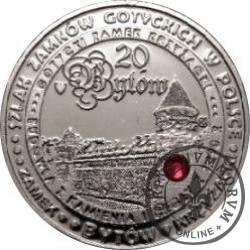 20 bytów - GOTYCKI ZAMEK KRZYŻACKI W BYTOWIE (mosiądz srebrzony + czerwona cyrkonia)