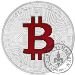 Bitcoin BTC miedź posrebrzana / tampondruk czerwony
