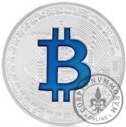 Bitcoin BTC miedź posrebrzana / tampondruk niebieski