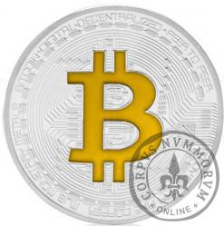 Bitcoin BTC miedź posrebrzana / tampondruk żółty