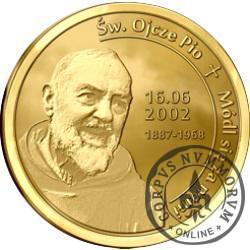 Święty Ojciec Pio (mosiądz pozłacany)