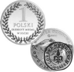 1 polski srebrny medal w Soczi (mosiądz posrebrzany)