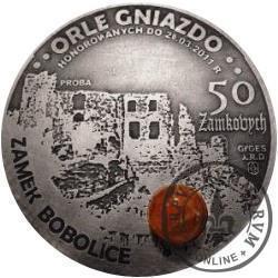 50 zamkowych - Zamek Bobolice / WZORZEC PRODUKCYJNY DLA MONETY (miedź srebrzona oksydowana + bursztyn)