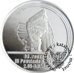 100 marek polskich - 90. ROCZNICA POWSTAŃ ŚLĄSKICH (Ag III)