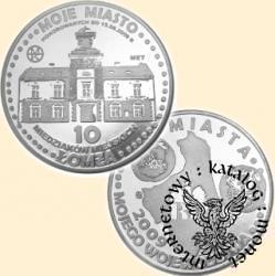 10 miedziaków miejskich - Łomża (mosiądz posrebrzany)