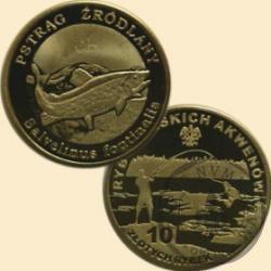 10 złotych rybek (mosiądz patynowany) - XXXII emisja / PSTRĄG ŹRÓDLANY st. odwrócony