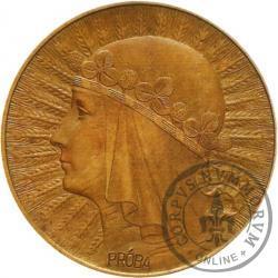 10 złotych - Polonia (głowa kobiety) zn. men. brąz
