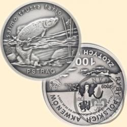 100 złotych rybek (Ag.925 - oksydowane, st. odwrócony) - II emisja / PSTRĄG bok ząbkowany