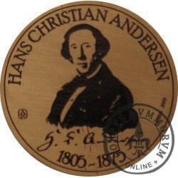 20 andersenów / Hans Christian Andersen - typ VI / PRÓBA - WZORZEC PRODUKCYJNY DLA MONETY (miedź patynowana)