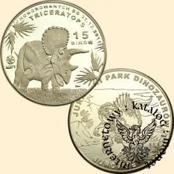 15 dinów / Jurajski Park Dinozaurów w Jurowcach - Triceratops (mosiądz)