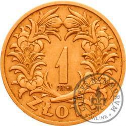 1 złoty - wieniec liściasty skrzyżowany, miedź