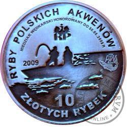 10 złotych rybek (mosiądz posrebrzany, oksydowany) - II emisja / PSTRĄG st. zwykły