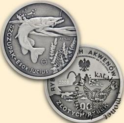 100 złotych rybek (Ag.925 - oksydowane) - I emisja / SZCZUPAK