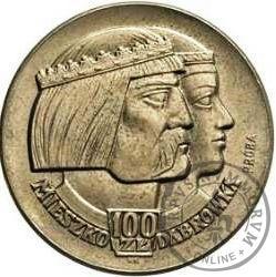 100 złotych - Mieszko i Dąbrówka - głowy (napis na boku)