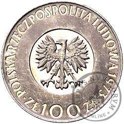100 złotych - Mikołaj Kopernik - włosy dotykają obrzeża, Ag