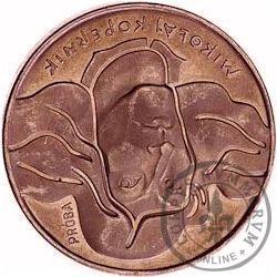 100 złotych - Mikołaj Kopernik - włosy dotykają obrzeża, Cu