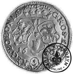 szóstak koronny - popiersie w płaszczu, herb w owalu, VI