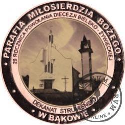 20 Diecezji - PARAFIA MIŁOSIERDZIA BOŻEGO W BĄKOWIE (miedź z czarnym otokiem na awersie + rycina - Φ 38 mm)
