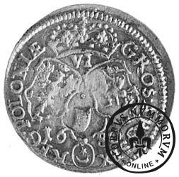 szóstak koronny - popiersie w płaszczu, herb w owalu, VI, kropka